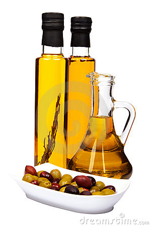 Olive oil bottles and olives.