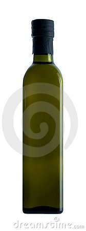 Olive oil in dark green bottle