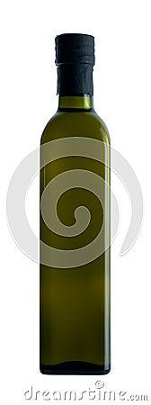 Olive oil in dark green bottle