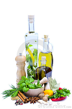 Free Olive Oil, Herbs And Spices Stock Photography - 18409132