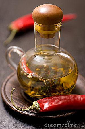 Olive oil with herbs and spices in glass bottle