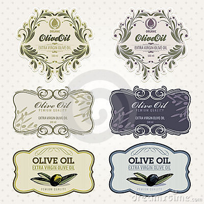 Olive oil labels set