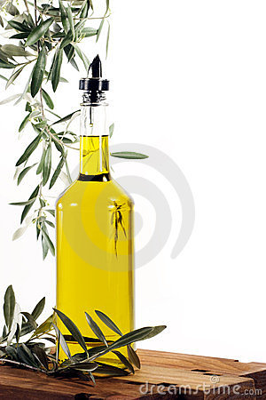 Olive Oil with Olive Tree Branches