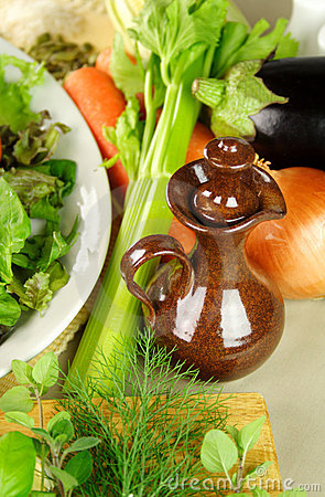 Olive Oil Pourer With Vegetables