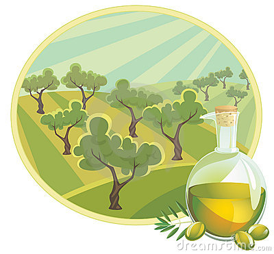 Olive oil with rural landscape