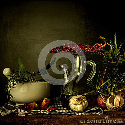 Olive oil and seasoning food Stock Photo