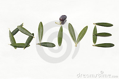 Olive and olive letters with leaves