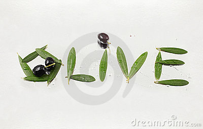 Olive and olive letters with path