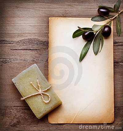 Olive Soap and Blank Paper with Olive Branch