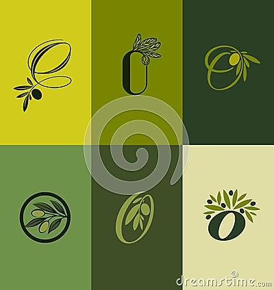 Olive tree branch. Set of labels. Vector illustration