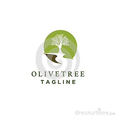 Olive tree logo designs with rivers Vector Illustration