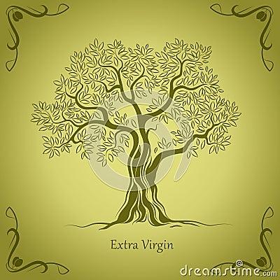 Olive tree. Olive oil. Vector  olive tree.For labels, pack.