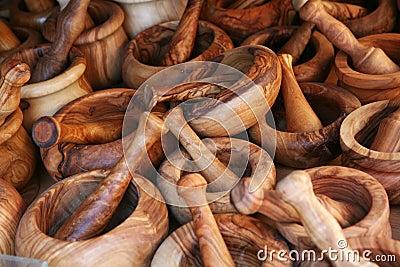 Olive wood pestles