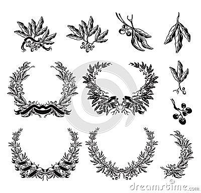 Olive Wreath, black set Vector Illustration