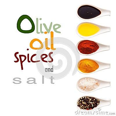 Olivenöl, Gewürze und Salz