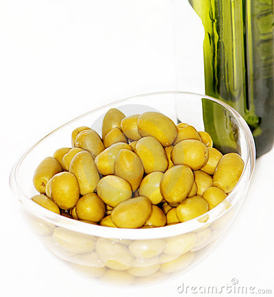 Olives and bottle of olive oil