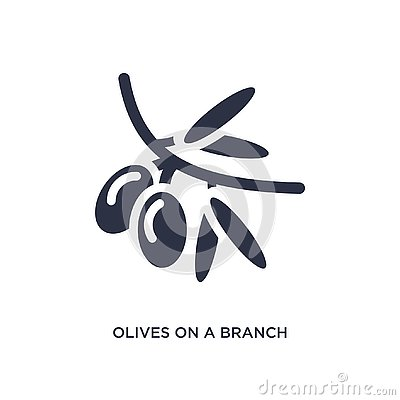 olives on a branch icon on white background. Simple element illustration from ecology concept Vector Illustration