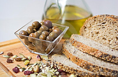 Olives, breag, seed and olive oil.