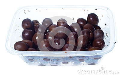 Olives in plastic box surface isolated