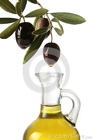 Olives pouring olive oil