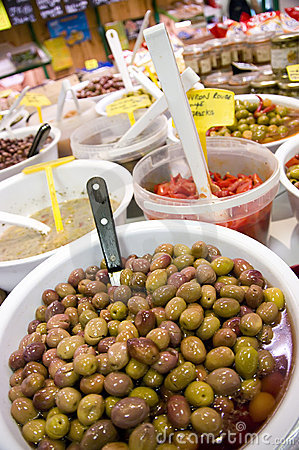 Olives in shop