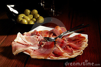 Olives and Spanish Cured Serrano Ham