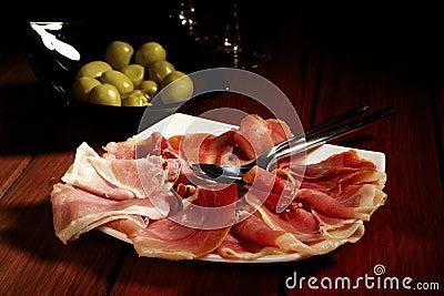 Olives and Spanish Cured Serrano Ham