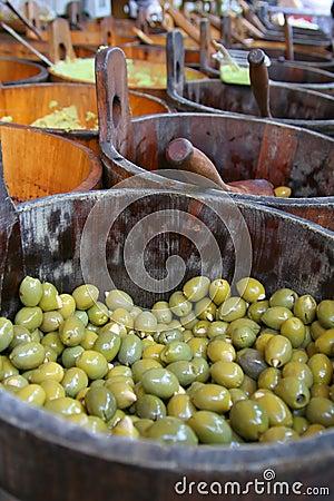 Olives in a wooden barrel