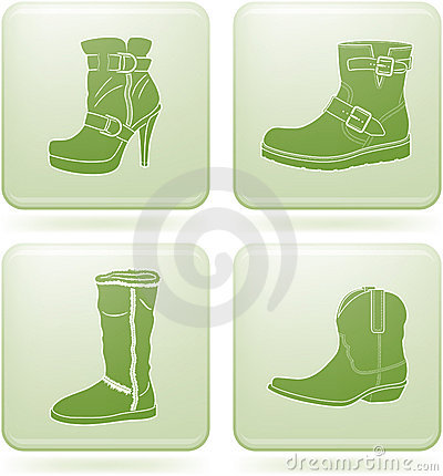 Olivine Square 2D Icons Set: Woman s Shoes
