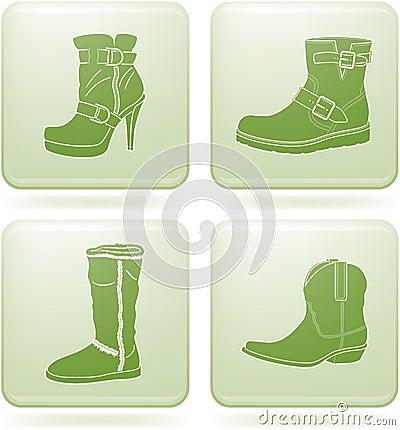 Olivine Square 2D Icons Set: Woman s Shoes