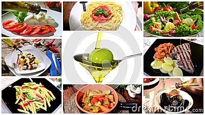 Olivolja i medelhavs- kokkonst, collage lager videofilmer