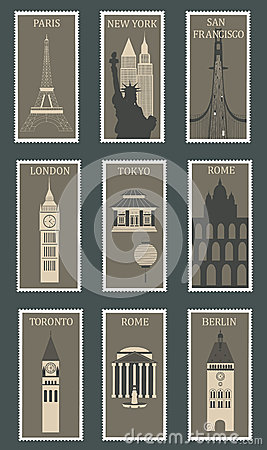 Stamps with famous cities.