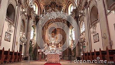 OLOMOUC, republika czech, KWIECIEŃ 15, 2018: Olomouc na Svaty Kopecek kościół, ołtarzu i religii, Katolicki chrześcijanin zbiory