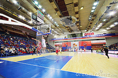 Olympiakos (Greece) and Lokomotiv-Kuban (Russia) teams play basketball Editorial Stock Image