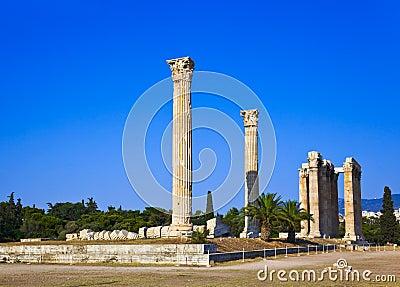 Olympian zeus ναών της Αθήνας Ελλάδα