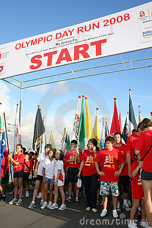 Olympic day run starting line Editorial Stock Photo