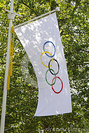 Olympic flag in London Editorial Photo