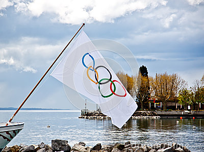 Olympic flag at Olympic museum Editorial Photography