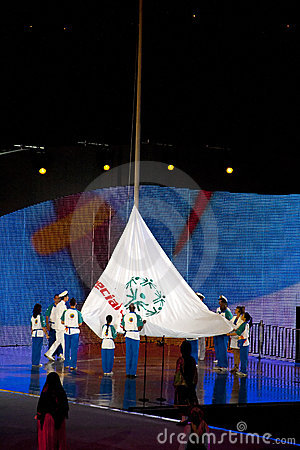 Olympic flag rising Editorial Image