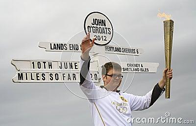 Olympic Flame paraded at John O Groats, Scotland Editorial Stock Photo