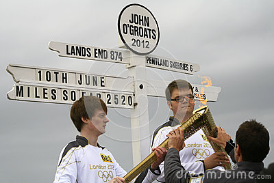 Olympic Flame and torches 2012, John O'Groats Editorial Stock Image
