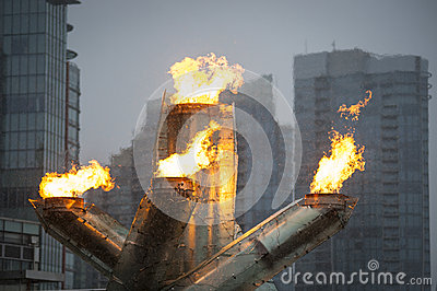 Olympic flame in Vancouver Editorial Image