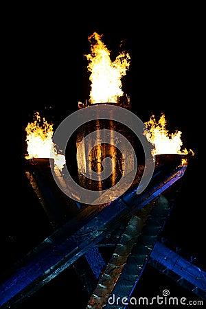 Olympic flamma Redaktionell Arkivbild