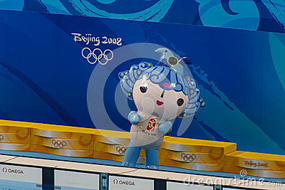 Olympic mascot performing in Beijing Olympics Editorial Stock Photo
