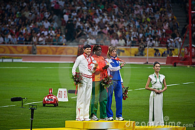 Olympic Medal Ceremony Women s Triple Jump Editorial Image