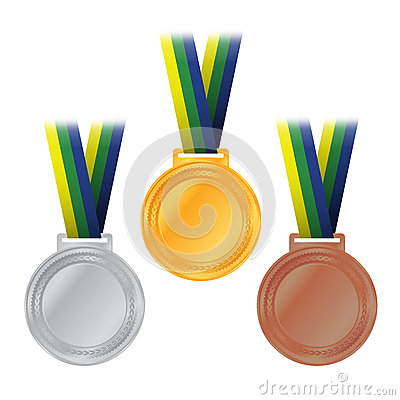 Free Olympic Medals Gold Silver Bronze Illustration Stock Photography - 52646782