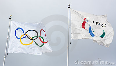 Olympic and Paraolympic Flags Editorial Photo
