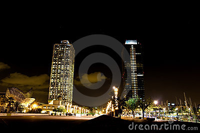 Olympic port in Barcelona at night