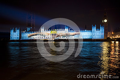 Olympic Projection on the Palace of Westminster Editorial Photography