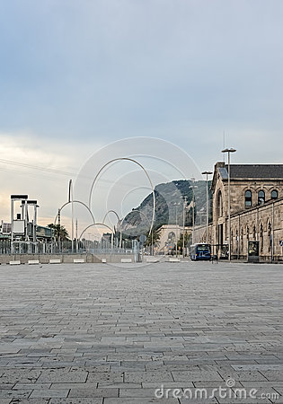 Olympic rings in Barcelona Spain Editorial Stock Image